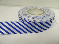 25mm Candy Stripe Ribbon Royal Blue and White 2 metres or 20 metre roll Barber Shop Diagonal